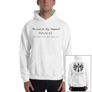 Psalm 23 Christian Men's Sweatshirt Black Text