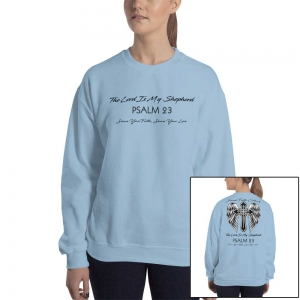 Psalm 23 Christian Women's/Unisex Sweatshirt Black Text