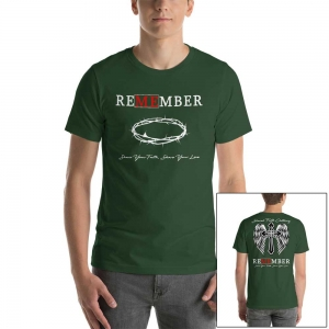"Forest Green - ""Remember Me"" Men's Christian Short-Sleeve T-Shirt"